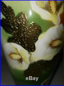 Antique Nippon Vase Ceramic Porcelain Hand Painted MorIage Gold Blue Stamped