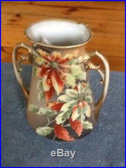 Antique Nippon Vase Hand Painted Rare Poinsettia with gold gilding