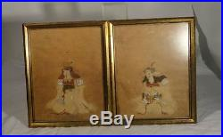 Antique Pair Japanese Scroll paintings Samurai Polychrome on Paper Warrior