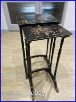 Antique Pair Tables Japanese Lacquered Nest 2 Stands 1910s 1920s Hand Painted