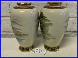 Antique Pair of Japanese Satsuma Porcelain Vases with Painted Mt. Fuji Dec