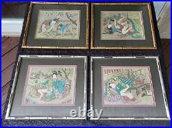 Antique Shunga Japanese Hand Painted Rice Paper Erotic Art