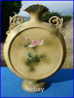 Antique VTG Japanese Moriage MOON Flask VASE Hand Painted 1800's