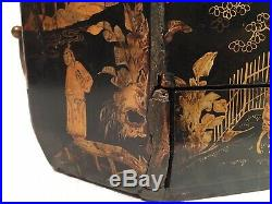 Antique Victorian Japanese Lacquer Sewing Box Chest Hand Painted With Key Signed