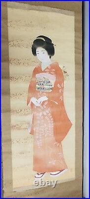 Antique Vintage Japanese Chinese Scroll Painting Lady Geisha Heavy Damage