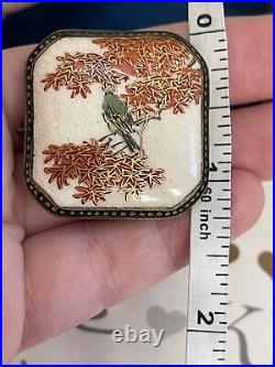 Antique brooch 19th Japanese Porcelain delicate painted bird on tree signed