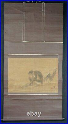 Antique water color monkey Saru Japane Sumi-e ink painting 1800s Edo era 1800s