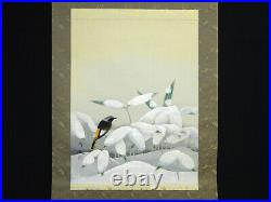 BIRD SNOW JAPANESE PAINTING HANGING SCROLL VINTAGE From Japan Old e480