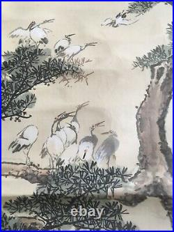 Beautiful Chinese Japanese Painting Scroll 19th C Watercolour On Silk Antique