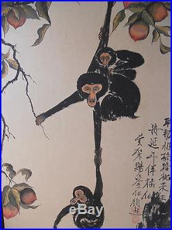 Beautiful Old Japanese 4 Monkey Hand Painting