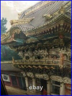 C1910 Meiji Japanese Mosano Kawakubu Temple Painting Karafuto Japan watercolor