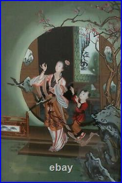 C. 1890 Japanese Reverse Painting On Glass Meiji Period