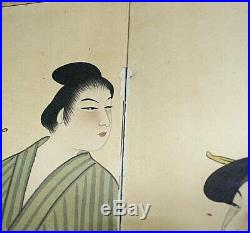 Chinese folding screen 52 x 36 apx Hand painted paper Japanese Oriental Signed