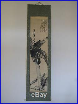Fine 19th 20th Century Japanese Zen Style Hand Painting of Plant Scroll Signed