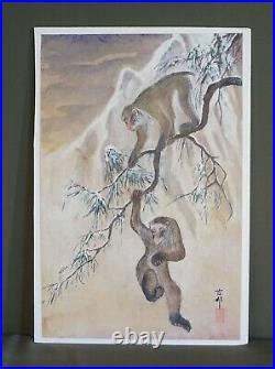 Fine Japanese Hand Painting of Japanese Snow Monkeys Signed Chop Stamp