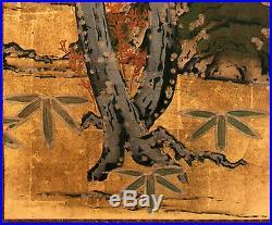 Framed Antique Japanese Landscape Painting Edo Period
