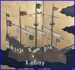 Good Vintage Japanese 4 Panel Screen Painting Signed Boats, Europeans, flags