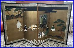 Good Vintage Japanese 4 Panel Screen Painting Signed People, Ox-cart, Clouds