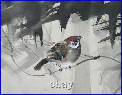 HANGING SCROLL JAPANESE PAINTING JAPAN BAMBOO SPARROW PICTURE Vintage ART e732