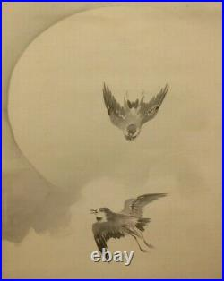HANGING SCROLL JAPANESE PAINTING JAPAN Cuckoo Moon Bird Old Art Ink e422