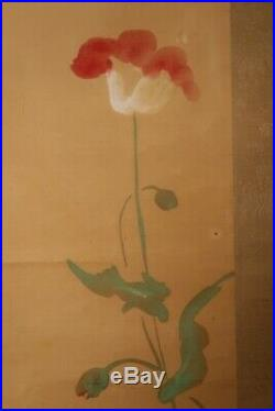 HANGING SCROLL JAPANESE PAINTING JAPAN FLOWER CAT ANTIQUE VINTAGE PICTURE d400