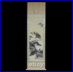 HANGING SCROLL JAPANESE PAINTING JAPAN HAWK PINE ANTIQUE VINTAGE PICTURE d333