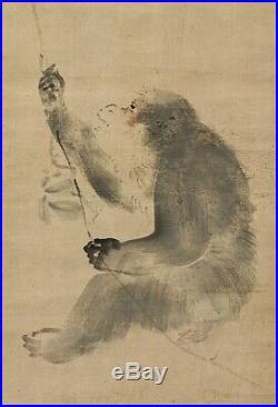 HANGING SCROLL JAPANESE PAINTING JAPAN Monkey ANTIQUE Kakejiku OLD ART d678