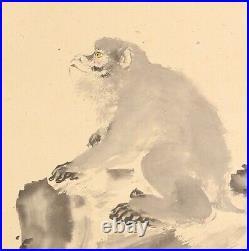 HANGING SCROLL JAPANESE PAINTING JAPAN Monkey ANTIQUE Kakejiku OLD ART e432
