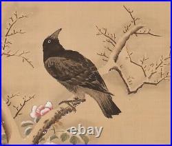 HANGING SCROLL JAPANESE PAINTING JAPAN Old BIRD CROW ANTIQUE Winter ART 785p