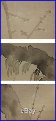 HANGING SCROLL JAPANESE PAINTING JAPAN PLUM MOON ORIGINAL PICTURE VINTAGE 584n