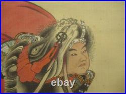 HANGING SCROLL JAPANESE PAINTING JAPAN SAMURAI BUSHI ANTIQUE PICTURE ART e180