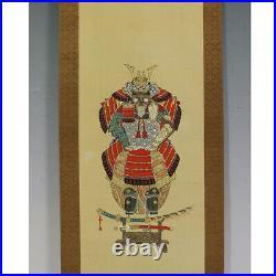 HANGING SCROLL JAPANESE PAINTING JAPAN SAMURAI BUSHI ANTIQUE VINTAGE ART 139n