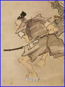 HANGING SCROLL JAPANESE PAINTING JAPAN SAMURAI Family BUSHI ANTIQUE e802