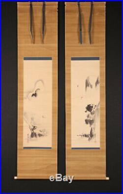 HANGING SCROLL KAKEJIKU / Landscape Painting by Tanshin Kano Morimichi 686