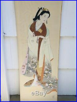 HUGE Antique Vintage JAPANESE GEISHA GIRL WATERCOLOR ON SILK PAINTING SIGNED