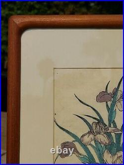 Hasegawa 1870 Japanese Woodblock Print Original Antique Frame Papyrus