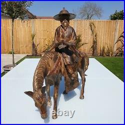 Huge Heavy Antique Japanese Meiji 1868-1921 Painted Bronze Scholar On Horse