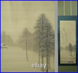 IK107 Deep Winter Snow Farm House Landscape Scroll Japanese Asian Art painting