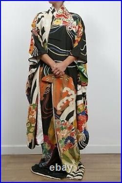 INCREDIBLE Antique Japanese silk Kakeshita furisode hand painted kimono 1920's