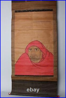 Impressive Painting depicting Zen Buddhism founder, Daruma. Edo 18-19thc GG27