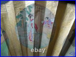 J2791 ANTIQUE JAPANESE Geisha FAN NICE CARVED + PAINTINGS SEE DESCRIP