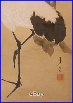 JAPANESE ART PAINTING ANTIQUE INK CRANE PINE HANGING SCROLL JAPAN c795