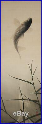 JAPANESE ART PAINTING CARP HANGING SCROLL OLD JAPAN VINTAGE PICTURE ART d886