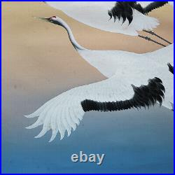 JAPANESE ART PAINTING CRANE HANGING SCROLL OLD Fly JAPAN VINTAGE e369