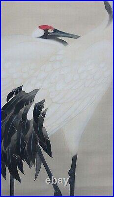 JAPANESE ART PAINTING CRANE KAKEJIKU HANGING SCROLL OLD JAPAN Antique e063