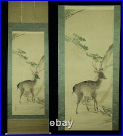 JAPANESE HANGING SCROLL KAKEJIKU / Deer Painting by Chikudo Kishi #809