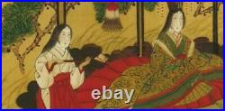 JAPANESE PAINTING ANTIQUE Hanging Scroll Nobility Castle JAPAN ART OLD 710m