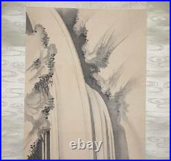 JAPANESE PAINTING HANGING SCROLL FROM JAPAN CASCADE WATERFALL ANTIQUE e497