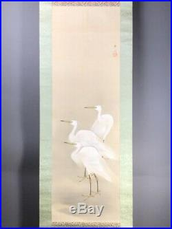 JAPANESE PAINTING HANGING SCROLL FROM JAPAN HERON EGRET VINTAGE PICTURE OLD d838