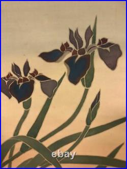 JAPANESE PAINTING HANGING SCROLL FROM JAPAN IRIS ANTIQUE OLD ART e529
